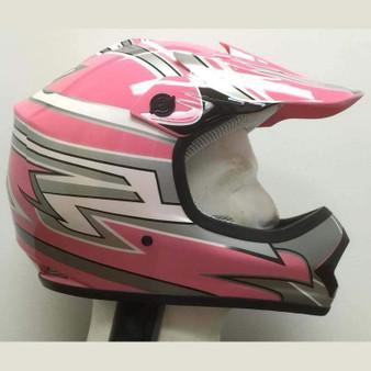 DOT Kids ATV - Dirt Bike - Motocross - Helmets - Pink Graphics / SKU GRL-DOTATVKIDS-PINKMX-HI