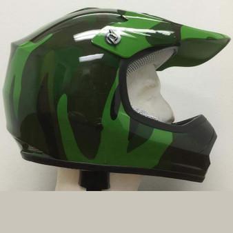 DOT Kids ATV - Dirt Bike - Motocross Helmets - Army Camo Camouflage / SKU GRL-DOTATVKIDSARMYCAMO-HI