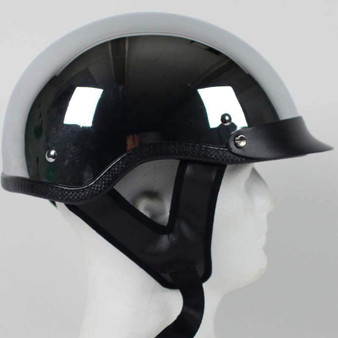 DOT Real Chrome Motorcycle Shorty Helmet - SKU GRL-1C-HI