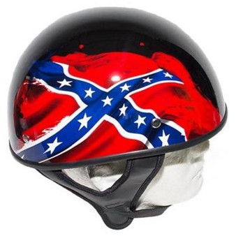 DOT Rebel Flag Motorcycle Helmet - Gloss Finish - SKU GRL-HS1100-REBEL-SHINY-DL