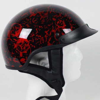 DOT Gloss Red Boneyard Motorcycle Shorty Helmet - SKU GRL-1BYR-HI