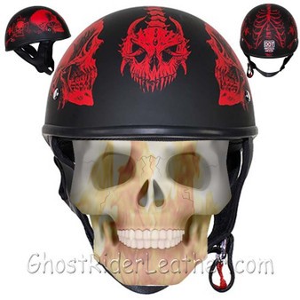 DOT Red Horned Skeletons Motorcycle Helmet - Flat Finish - SKU GRL-HS1100-D5-RED-FLAT-DL