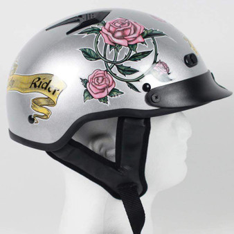 DOT Silver Lady Rider Vented Motorcycle Shorty Helmet - SKU GRL-1VSR-HI