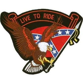 Eagle with Rebel Flag and Live To Ride Banner Patch - SKU GRL-PAT-B109-DL