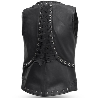 Empress Womens Leather Motorcycle Vest with Rivet Design - SKU GRL-FIL575SDM-FM