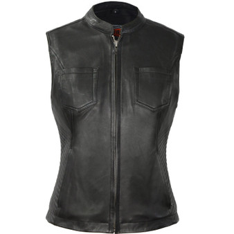 Envy - Women's Motorcycle Leather Vest - SKU GRL-FIL513SDM-FM
