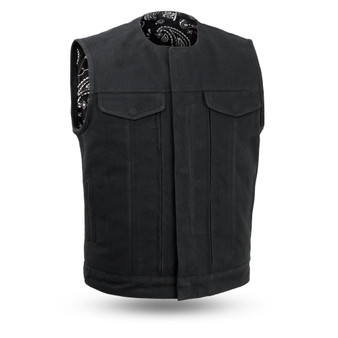 Fairfax V2 - Men's Motorcycle Canvas Vest - SKU FIM633CNVS-FM