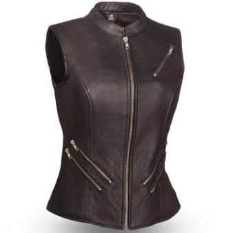 Fairmont - Women's Leather Zipper Biker Vest - SKU FIL512NOC-FM