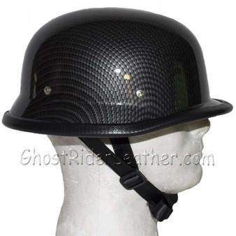 Faux Carbon Fiber Look German Motorcycle Novelty Helmet - SKU H402-CF-DL