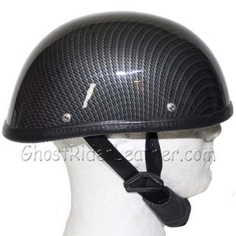 Faux Carbon Fiber Look Shorty Motorcycle Novelty Helmet - SKU H401-CF-DL