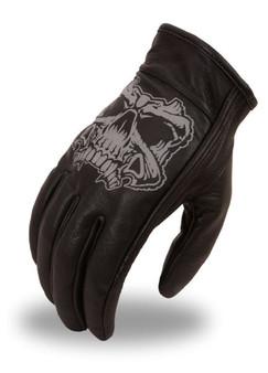 Men's Short Leather Gloves With Reflective Skull - SKU FI137GEL-FM
