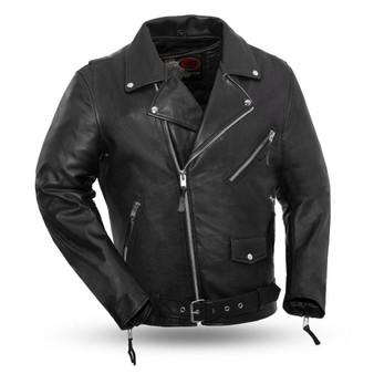 Fillmore - Men's Black Leather Motorcycle Jacket - Armor Pockets - SKU FIM208CDLZ-FM