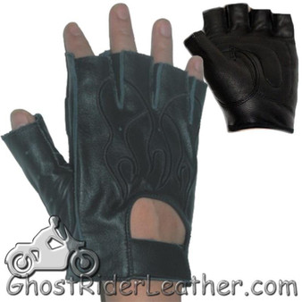 Fingerless Biker Leather Motorcycle Gloves With Black Flames - SKU GL2015-DL