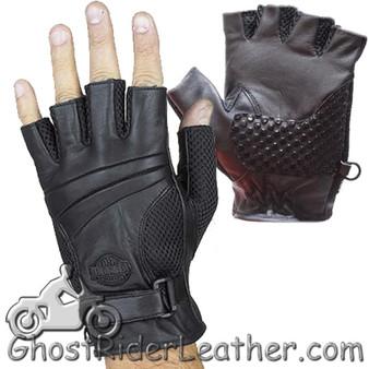 Fingerless Biker Leather Motorcycle Gloves With Gel Palms - SKU GRL-GL2092-DL