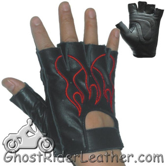Fingerless Biker Leather Motorcycle Gloves With Red Flames - SKU GL2019-DL