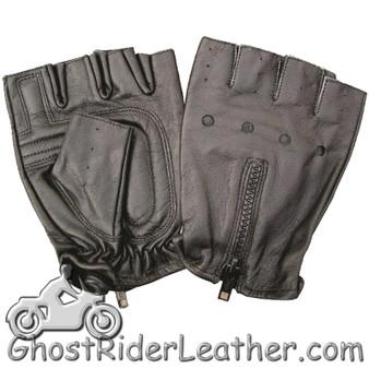 Fingerless Leather Biker Gloves With Zipper Back - SKU GRL-AL3006-AL