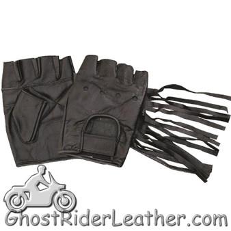 Fingerless Leather Gloves With Fringe - Tassels - SKU GRL-AL3004-AL