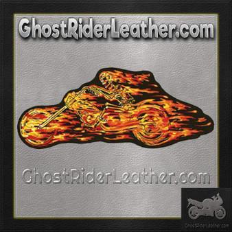 Flaming Skull Skeleton Flames Rider Patch / SKU GRL-PAT-A49-DL