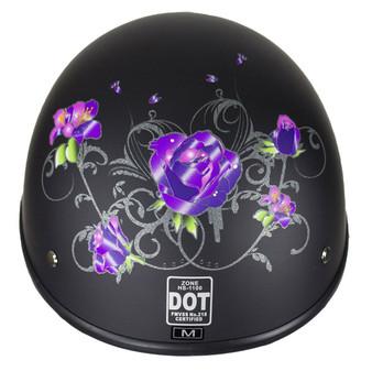 Flat Black Purple Rose DOT Motorcycle Helmet - SKU GRL-HS1100-D1-FLAT-DL