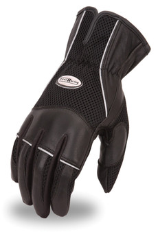 Men's Combination Leather and Mesh Motorcycle Gloves - SKU FR105GL-FM