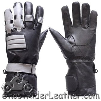 Full Finger Leather Motorcycle Riding Gloves With Gel Palms - SKU GRL-GL2039-DL