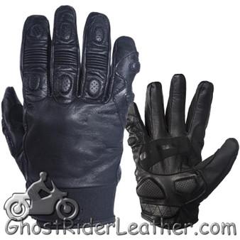 Full Finger Soft Leather Padded Motorcycle Riding Gloves - SKU GRL-GLZ80-DL