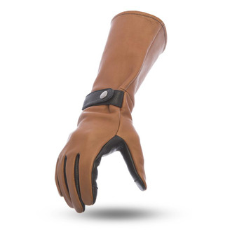 Men's Leather Gauntlet Gloves With Touch Tech Fingers - Choice Of Colors - SKU FI216-FM