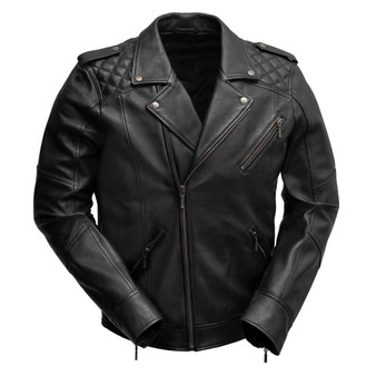 Gavin - Men's Black Leather Motorcycle Jacket  - SKU WBM2812