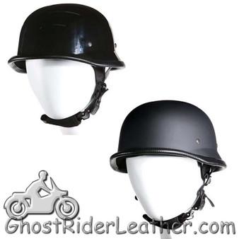 German Novelty Motorcycle Helmet Flat or Gloss Black - SKU GRL-H402-H502-11-DL