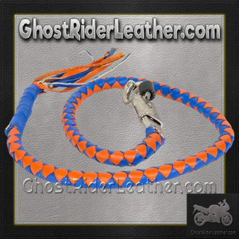 Get Back Whip in Blue and Orange Leather - Motorcycle Accessories - SKU GRL-GBW14-11-DL