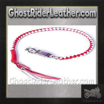 Get Back Whip in Red and White Leather / SKU GRL-GBW12-DL
