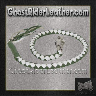 Get Back Whip in White and Green Leather - Motorcycle Accessories - SKU GRL-GBW17-11-DL