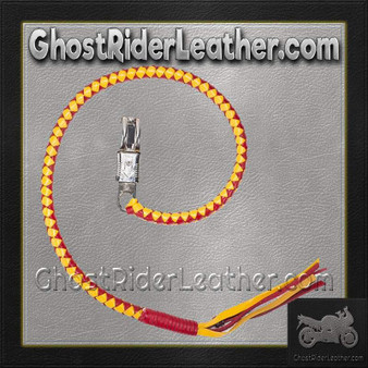 Get Back Whip in Yellow and Red Leather / SKU GRL-GBW15-DL