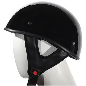 Gloss Black DOT Shorty Motorcycle Helmet - SKU GRL-HS1100-SHINY-DL