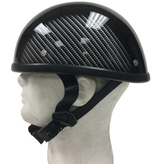 Gloss Black With Tire Tread Sides Novelty Motorcycle Helmet - SKU H401-CF-1-DL