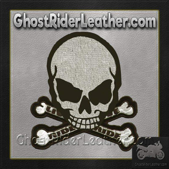 Gray Monster Skull Crossbones Patch / SKU GRL-MK4-DL
