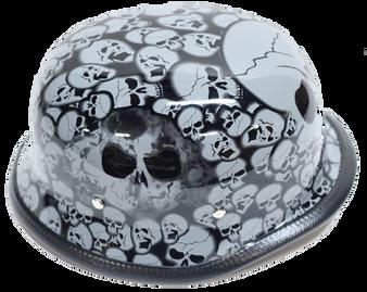 Grey Boneyard Skulls German Novelty Motorcycle Helmet - SKU H5402-GREY-DL