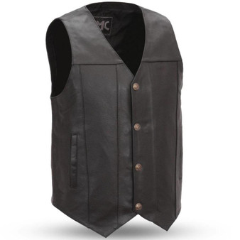Gun Runner - Men's Leather Western Vest in Sizes Up To 8XL - Concealed Carry - SKU FMM611BSF-FM