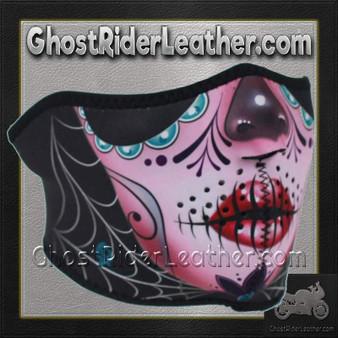 Half Mask Made of Neoprene Sugar Skull Design - SKU GRL-FMS11-WNFM082H