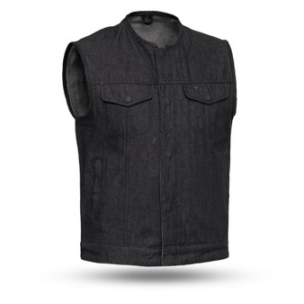 Haywood - Black Denim Men's Motorcycle Vest - FIM634DM