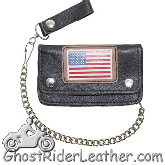 Heavy Duty Leather Chain Wallet with USA Flag - SKU GRL-WALLET9-11-HD-DL