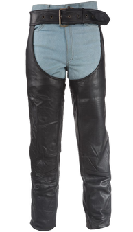 Heavy Duty Motorcycle Leather Chaps With Zipper Pocket for Men or Women - SKU C3000-01/11-DL