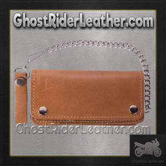 Heavy Duty Tan Leather Chain Wallet / SKU GRL-AC51-11TAN-DL