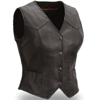 Heiress Womens Leather Motorcycle Vest - SKU GRL-FIL540ES-FM