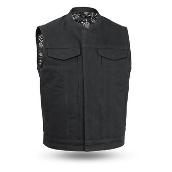 Highland V2 - Men's Motorcycle Canvas Vest - SKU FIM692CNVS-FM