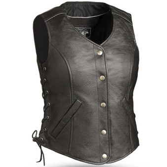 Honey Badger - Women's Biker Leather Motorcycle Riding Vest - Tall Option - SKU GRL-FIL566RCSL-FM
