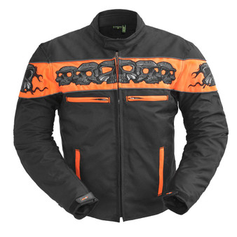 Immortal - Men's Codura Orange Reflective Skull Jacket - SKU GRL-FIM450TEXZ-FM