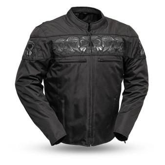 Immortal - Men's Cordura Reflective Skull Jacket - SKU FIM450TEX-FM-BLK