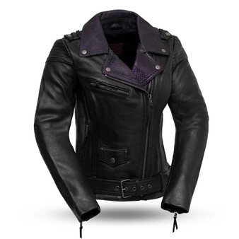 Iris - Women's Leather Motorcycle Jacket - Black With Purple Collar -SKU FIL184CJ-FM