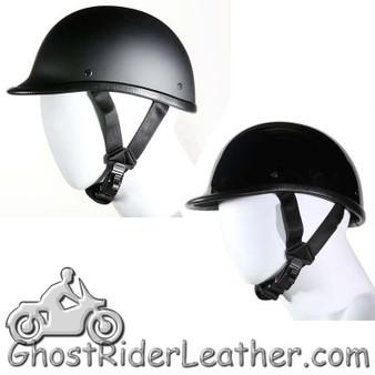 Jockey Polo Novelty Motorcycle Helmet Flat or Gloss Black - SKU H404-H504-11-DL